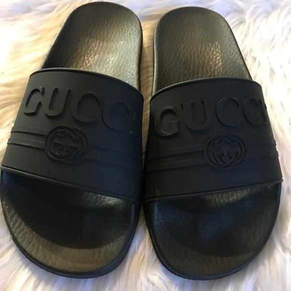 f9f57e534 Gucci Shoes | Pursuit Logo Slide Sandal Size 38 | Poshmark